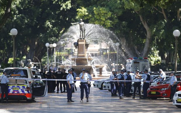 Police officers close off Hyde Park in Sydney's CBD.