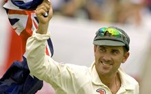 Australian batsman Justin Langer on day one of the 5th Ashes test match between Australia and England, Sydney, 2007.