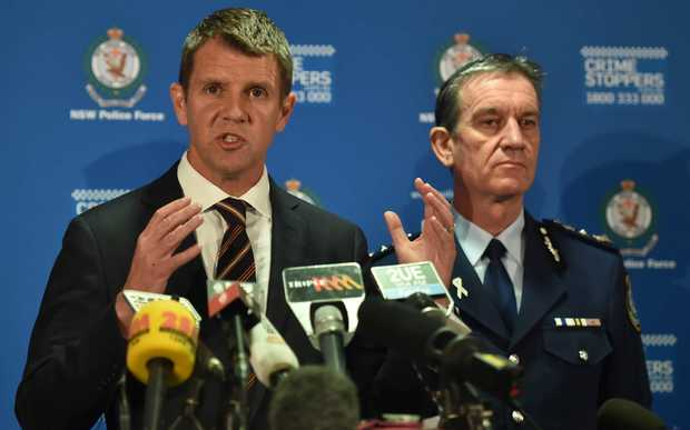 New South Wales Premier Mike Baird, left, alongside New South Wales Police Commissioner Andrew Scipione during a news conference.