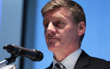 Bill English delivering the half-year financial update.