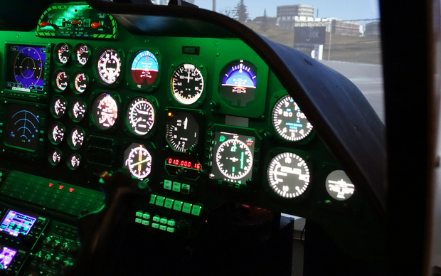 The cockpit of the Auckland Rescue Helicopter Trust's new flight simulator.