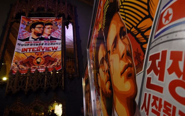 Publicity posters for the film, The Interview