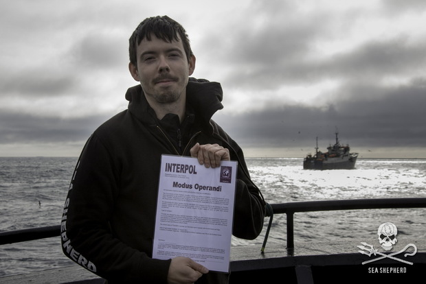 Sea Shepherd captain Peter Hammarstedt holding an Interpol notice for the 'Thunder'.