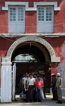 Myanmar prisoners being freed from Insein Central prison in Yangon in 2011.