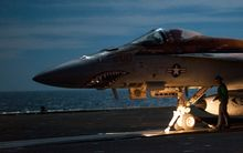 A US F/A-18E Super Hornet - shown on the flight deck of an aircraft carrier supporting strikes in Iraq and Syria.
