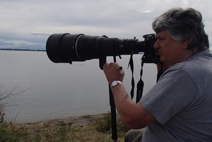 Photographer David Hallett photographing godwits at Christchurch's Heathcote Avon estuary, using his favourite 600 mm zoom lens.
