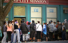 The line outside Auckland's City Mission in the week before Christmas.
