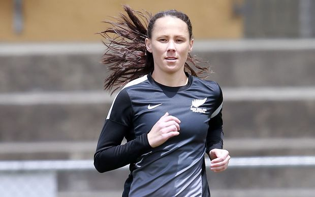 Daisy Cleverley training for the Football Ferns