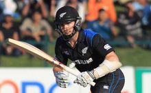 The Black Caps Kane Williamson plays a shot in the 5th ODI in Abu Dhabi. 2014.