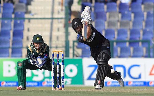 New Zealand's Kane Williamson plays a shot in the final match against Pakistan in Abu Dhabi.