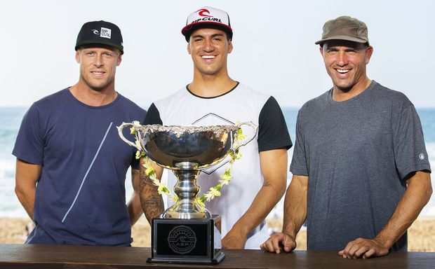 Gabriel Medina (centre) with American great Kelly Slater (right) and Australian Mick Fanning