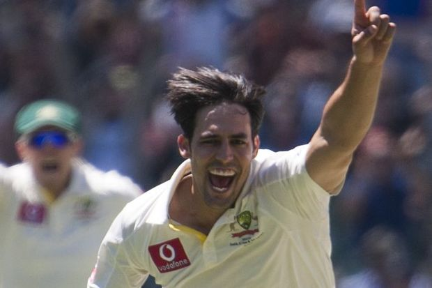 Australia all-rounder and paceman Mitchell Johnson celebrates a wicket.