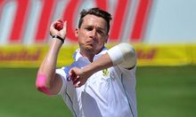The South Africa fast bowler Dale Steyn in action.