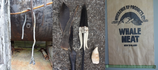 Tools of the whaling industry: Massive boilers (left) were used to reduce whale blubber to oil. The central image shows a hand-held harpoon, the tip of a 'bomb', a sperm whale tooth and humpback baleen. On the right, large bags were used to package dog food made from whale meat.