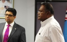 Fiji's Minister of Finance Aiyaz Sayed Khaiyum and the Chairman of Fiji TV Ioane Naiveli.