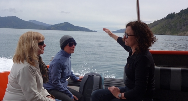 Barbara Speedy, the director of The Diversion gallery in Picton, and artists Elizabeth Thomson (left) and Robin White travel to the historic Perano whaling station.