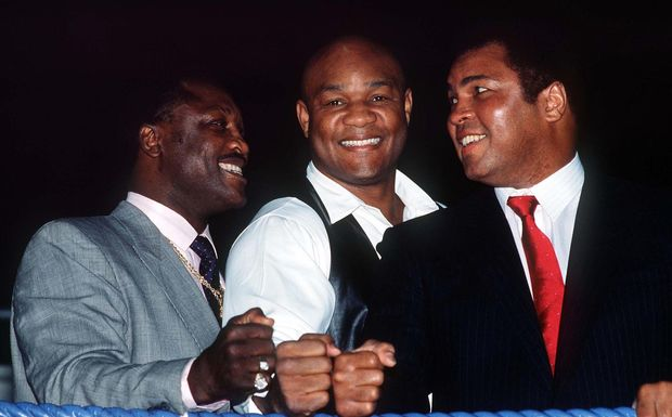 Boxing legends Joe Frazier, George Foreman and Muhammad Ali.