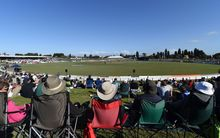 Cricket fans at the Bay Oval, Mount Maunganui, watch the Black Caps and South Africa one day international.