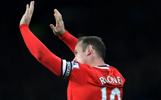Wayne Rooney of Man Utd celebrates after scoring.