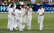 Neil Wagner and Black Caps celebrate a wicket against Sri Lanka in 2014.