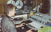 A Radio Active DJ at the controls in 1984.