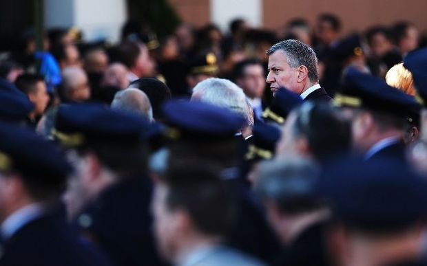 New York Mayor Bill de Blasio attends the funeral procession outside of Christ Tabernacle Church, New York City.