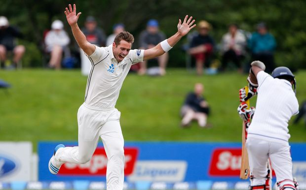 Tim Southee takes a wicket against Sri Lanka 2014.