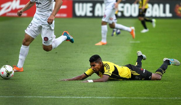 Roy Krishna earns his side a penalty against the Western Sydney Wanderers.