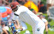 Marlon Samuels of West Indies batting.