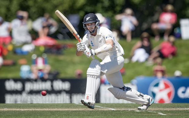 NZ's Hamish Rutherford bats during day four of the first International Test cricket match between New Zealand and Sri Lanka.