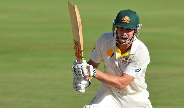 Australia's Shaun Marsh plays a shot.