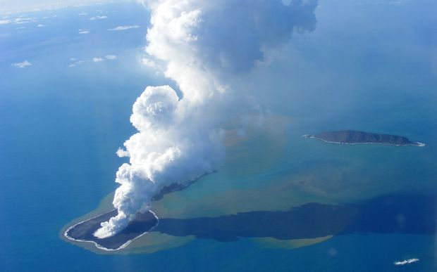 This picture taken on 19 March 2009 shows an aerial photo of ash rising into the air from an undersea volcanic eruption, part of the uninbabited islet of Hunga Ha'apai, 63 kilometres northwest of the Tongan capital Nuku'alofa.
