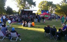 Music and celebrations in Hagley Park in Christchurch as part of New Year's Eve 2014.