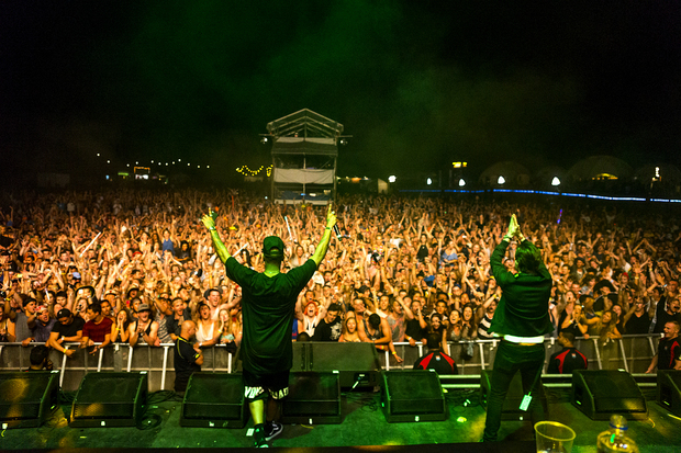 Chase and Status play Rhythm & Vines 2014 on 30 December near Gisborne.