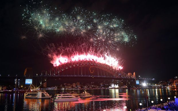 Fireworks on the Sydney Harbour Bridge.