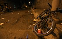 A bicycle lies deformed on the scene of a New Year's Eve stampede in Shanghai.