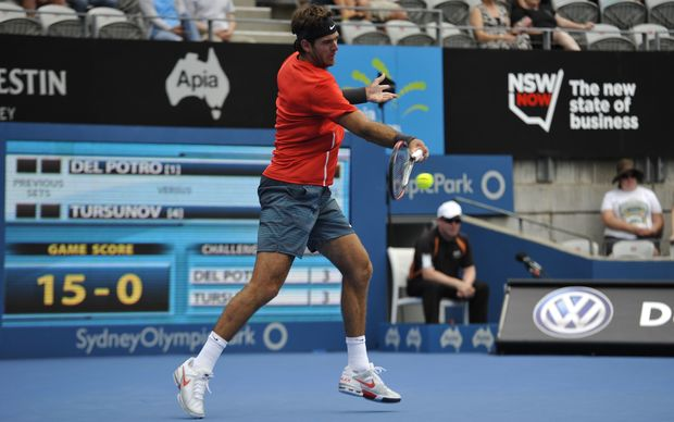 Juan Martin del Potro in action in Sydney last January