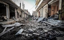 The destroyed streets of Kobane, in Syria.