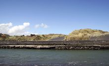 The sea wall at the Patea River mouth.