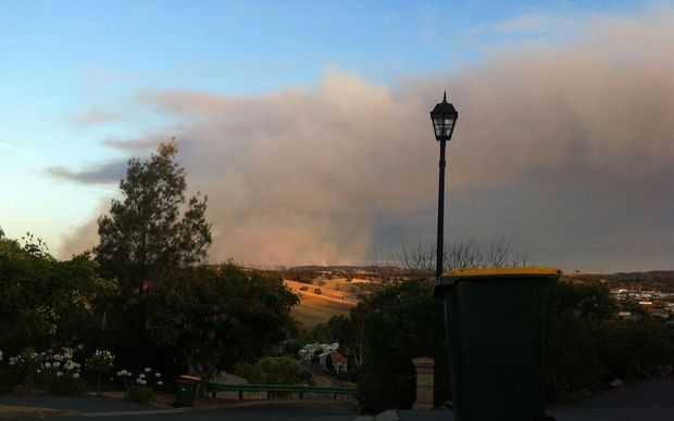 The Humbug Scrub fire which is burning out of control north of Adelaide.