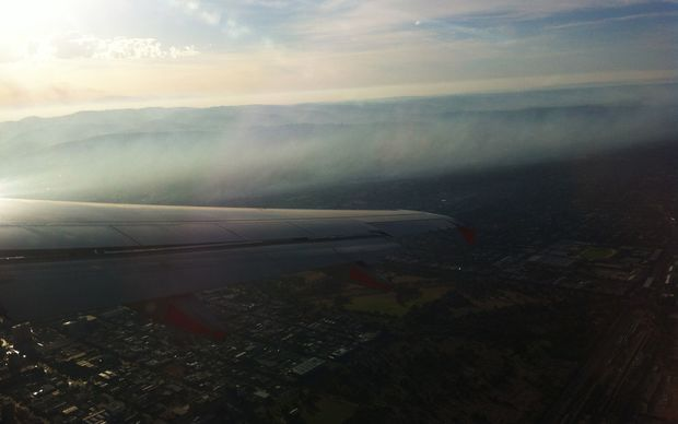 The view from an aircraft of the Humbug Scrub fire.