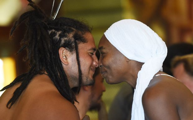 Venus Williams gets a hongi at Orakei Marae