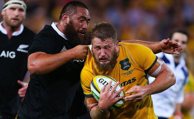 Scott Higginbotham during a Bledisloe Cup match between the Wallabies and the All Blacks.