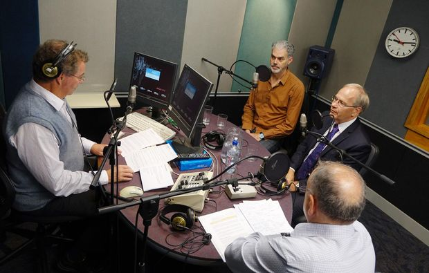 The Outspoken panel from left Todd Niall; Transportblog's Patrick Reynolds, Mayor Len Brown and David Shand, chair of the 2007 review of local body funding.