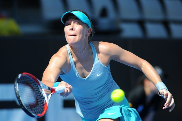 Lucie Hradecka of the Czech Republic in action at the ASB Classic in Auckland.