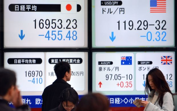 The Nikkei share average is down about 2.6 percent.