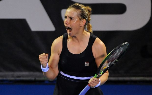 Marina Erakovic celebrates her win.