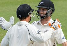 Kane Williamson and BJ Watling celebrate the former's double century against Sri Lanka in the second test at the Basin Reserve.