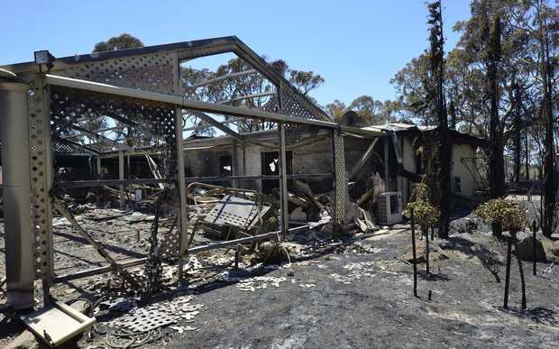 A burnt out house in Greenwith in the outer suburbs of Adelaide.