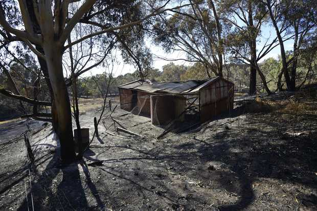 A burnt out shed near Kersbrook.